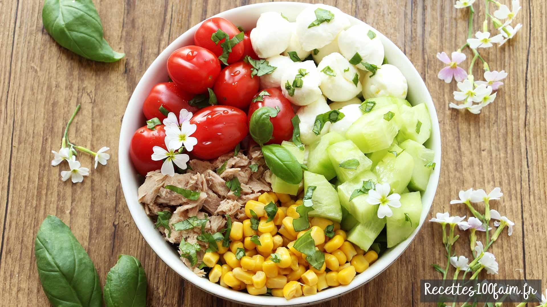 salade thon tomate mozzarella concombre