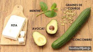 ingredients salade avocat concombre feta