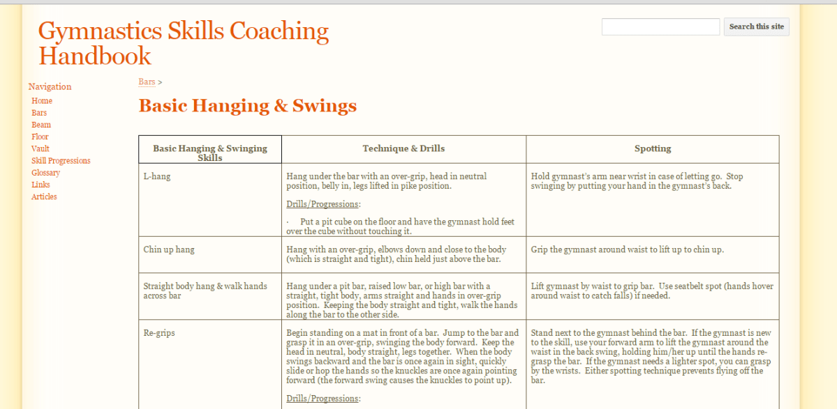 Resource: Gymnastics Skills Coaching Handbook
