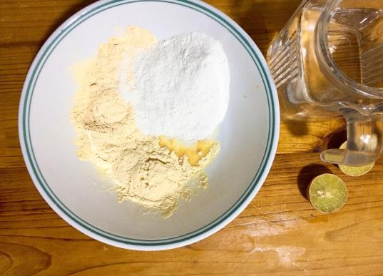 Add gram flour and coconut milk powder.