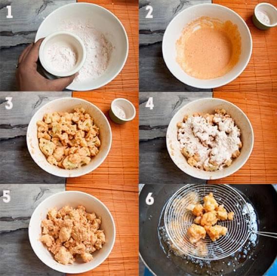 Steps for frying cauliflower.