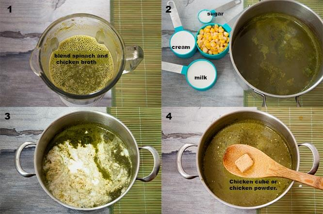 Steps to make cream of spinach soup.