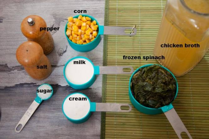 ingredients of cream of spinach soup.