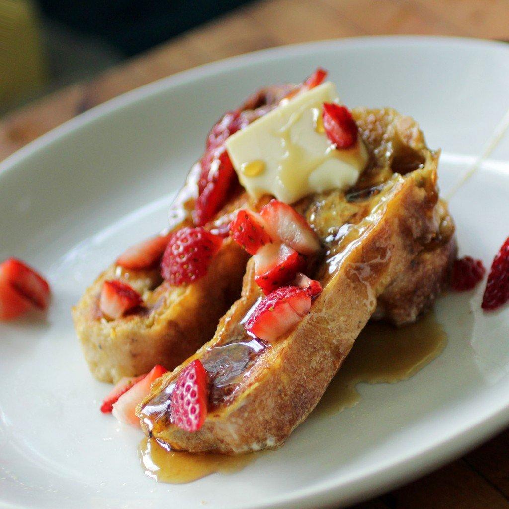 Roasted Strawberry Ciabatta French Toast