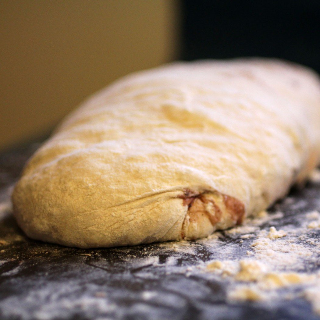 balsamic roasted strawberry ciabatta ready for its second rise