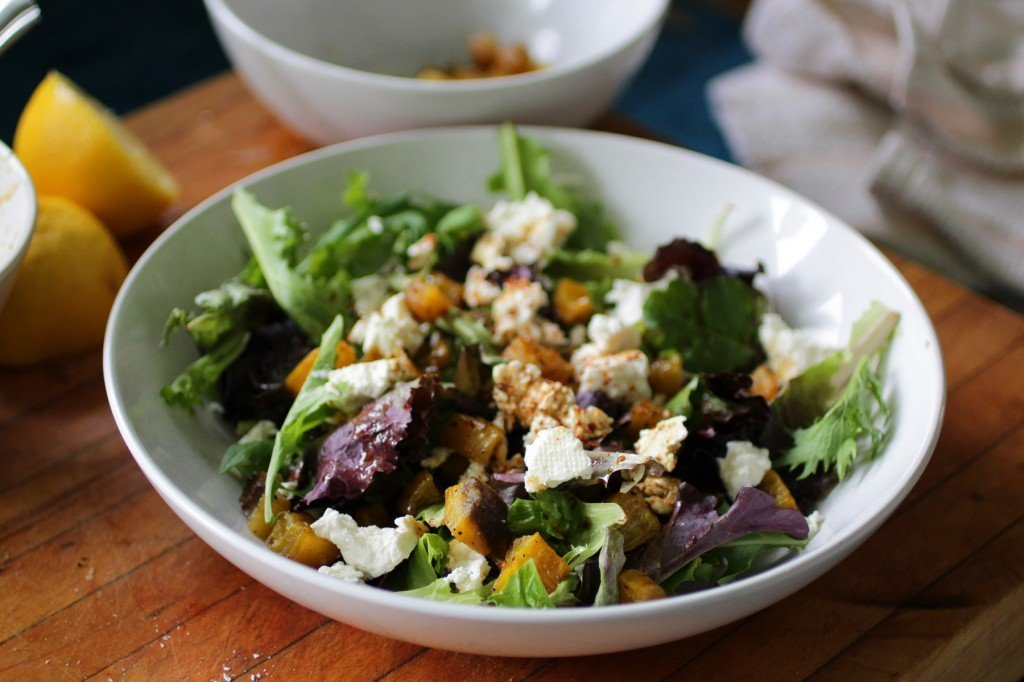 golden beet salad feta and pom dressing