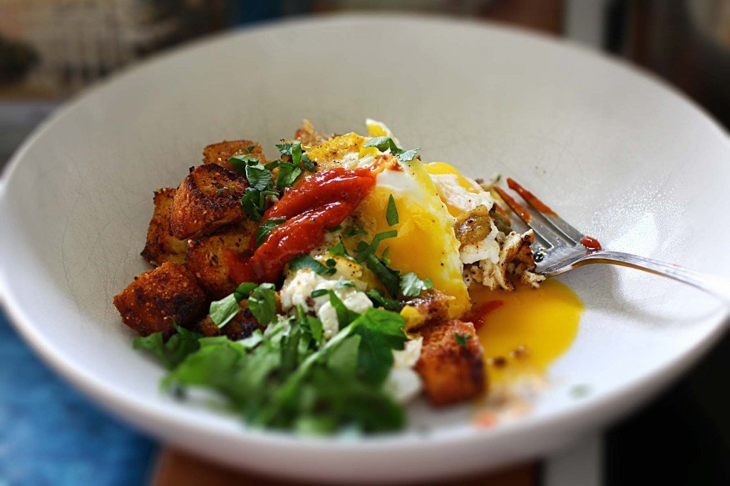 fried cornbread and green chile eggs