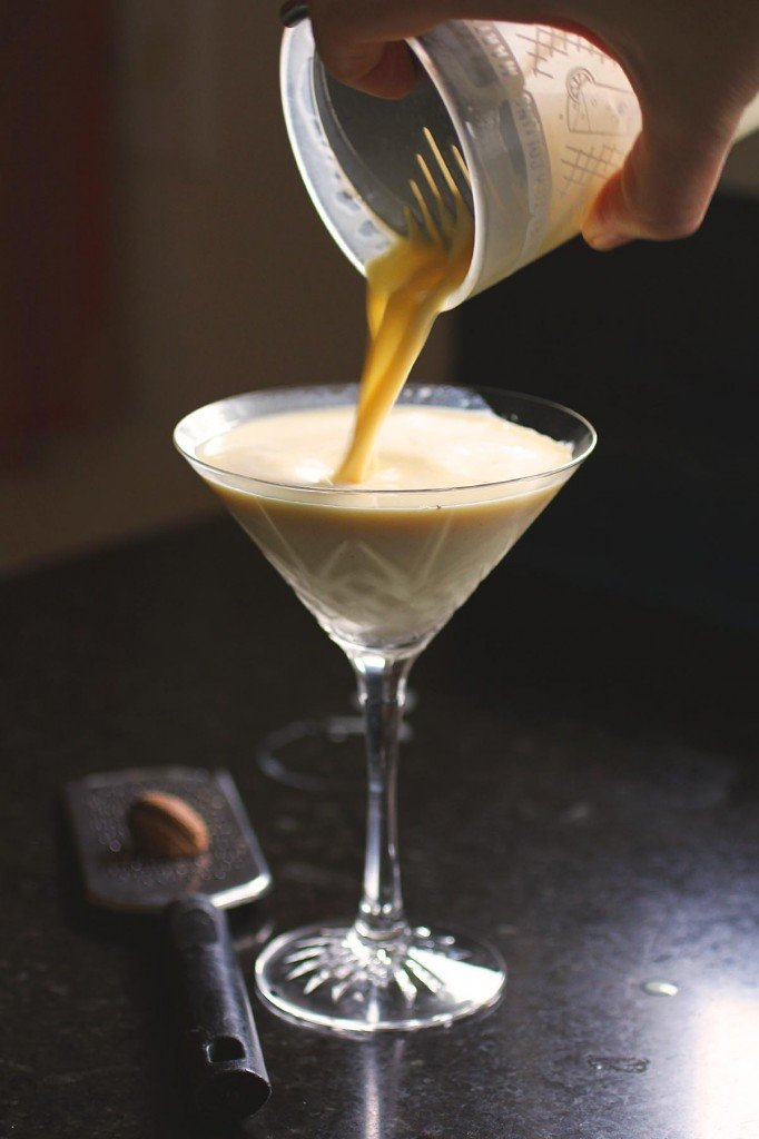 ginger eggnog martini cocktail