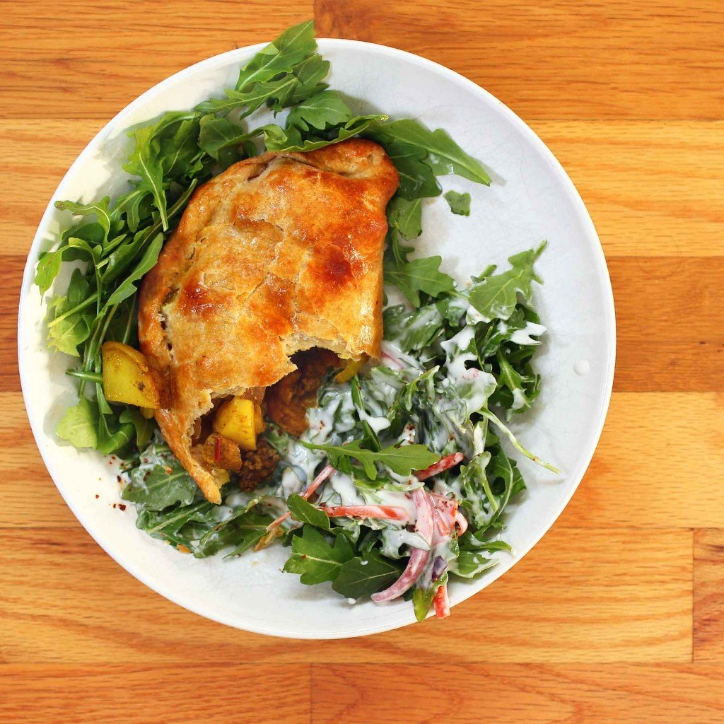 Beef and Potato Hand-Pies with Arugula Yogurt Salad