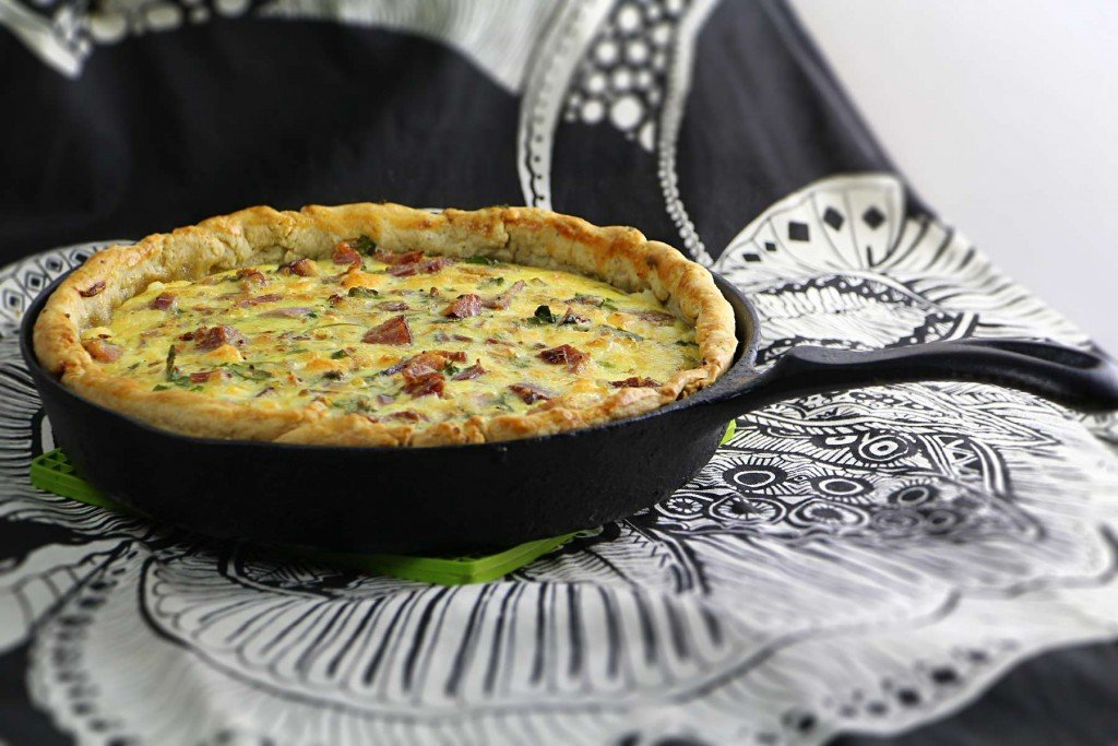 cast iron quiche with ham and sharp cheddar cheese