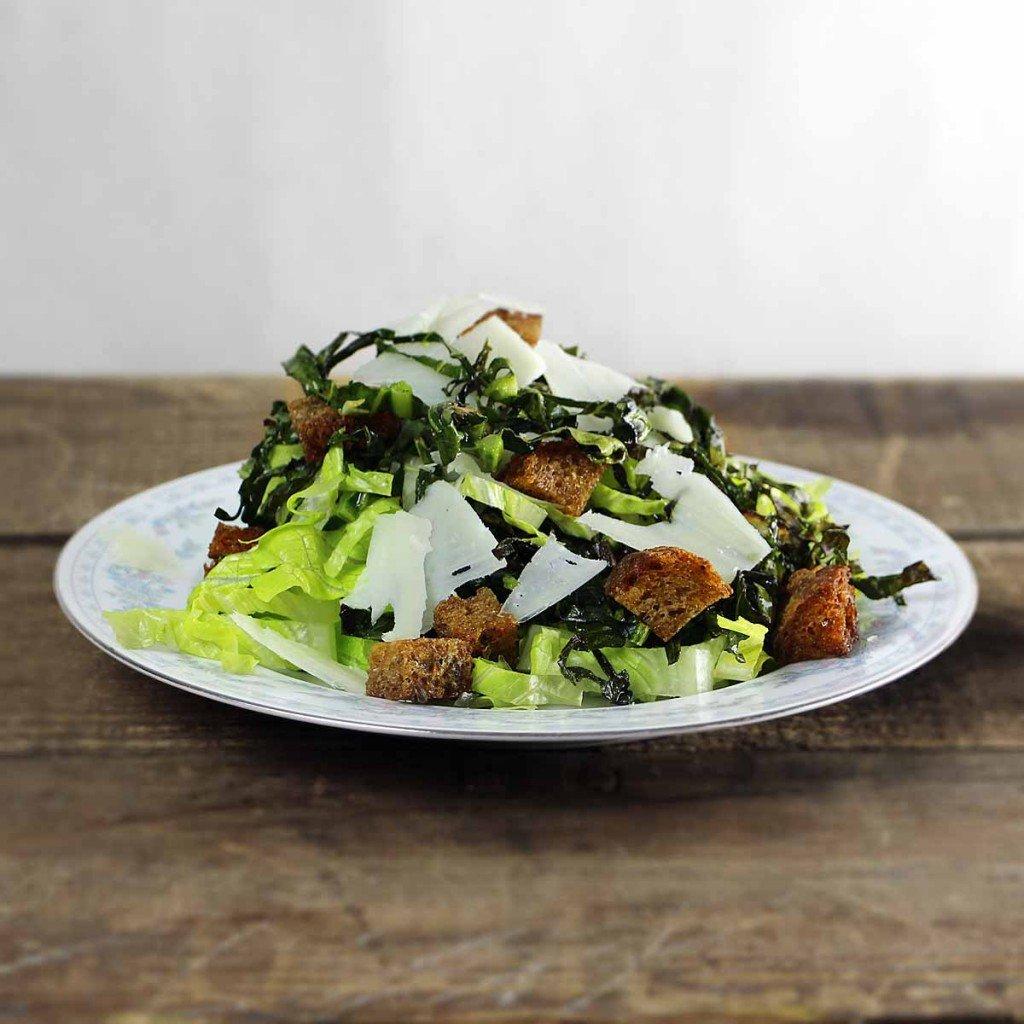 Crispy Collard Green Caesar Salad