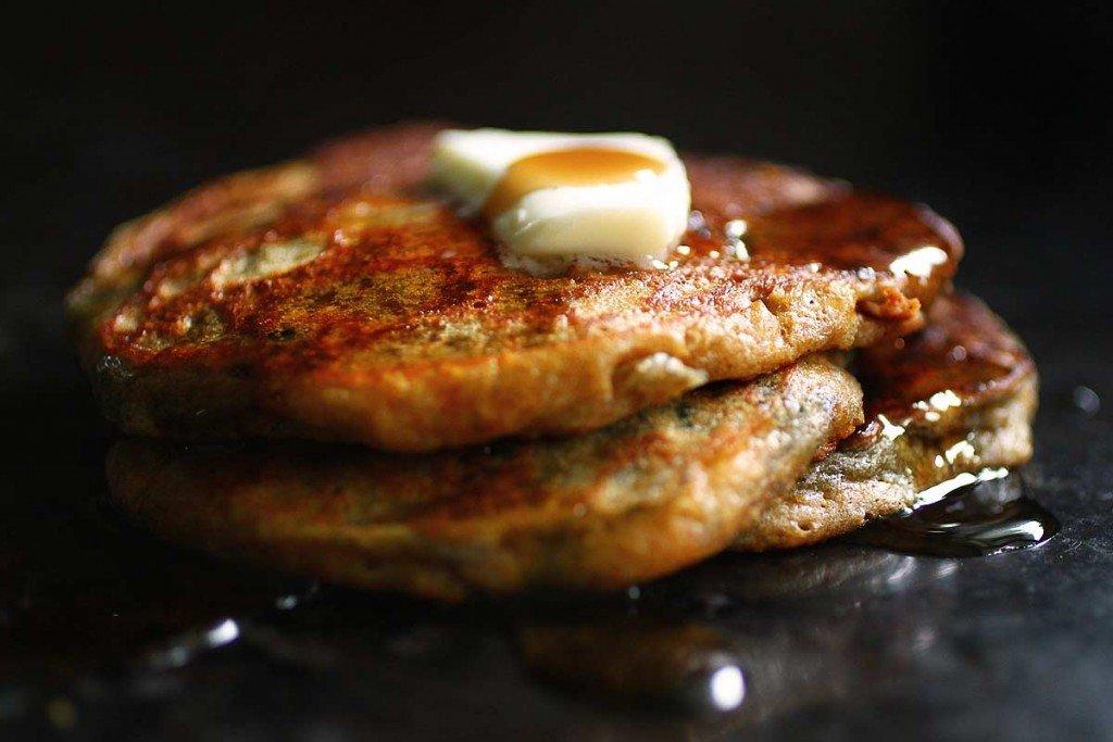 blueberry cornmeal pancakes close-up