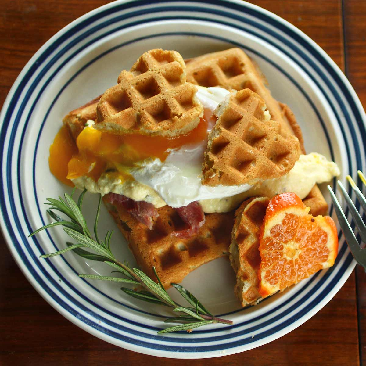Orange Rosemary Waffle Eggs Benedict