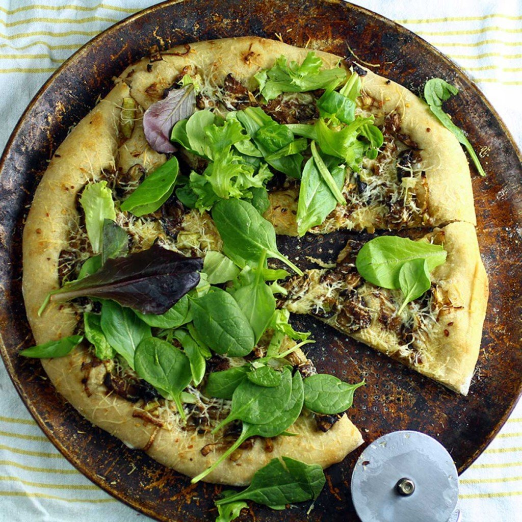 Mushroom Leek Pizza with salad greens
