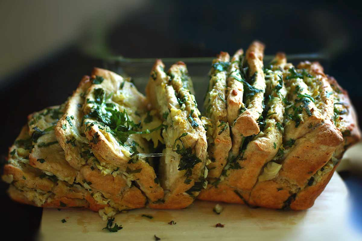 Artichoke Pull-Apart Bread with spring herbs pulled apart no yeast