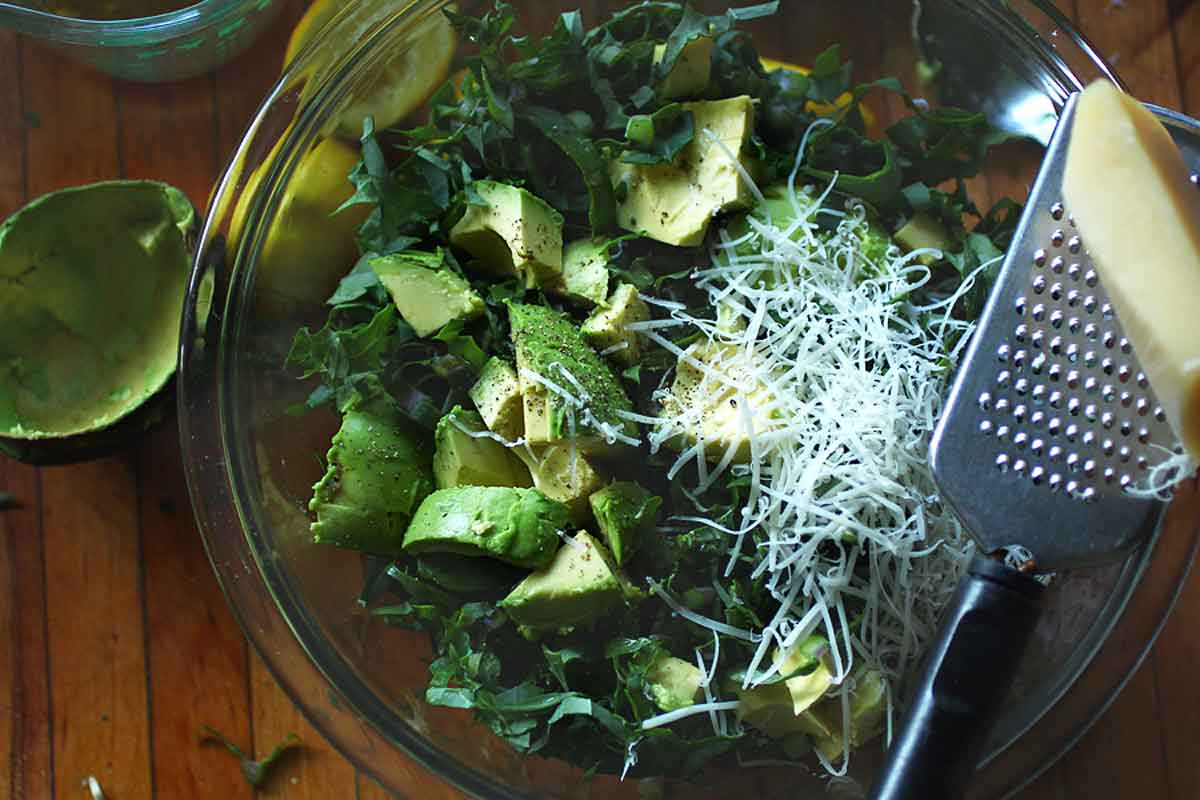 Avocado Kale Salad with parmesan