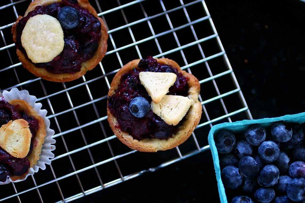 Individual Blueberry Pies with vanilla shortbread crust
