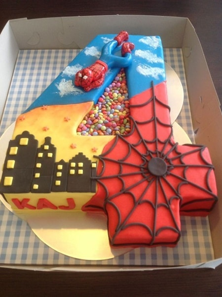10 awesome spiderman cake ideas with recipe topper for Number 4 decorations