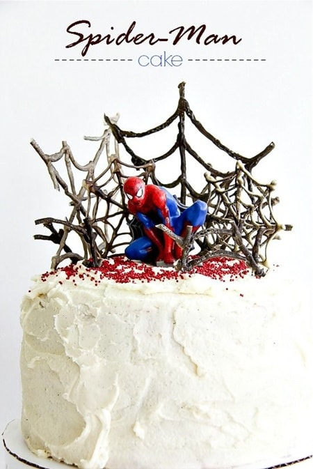 white spiderman cake