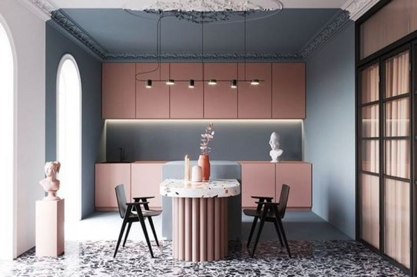 blush pink kitchen feature