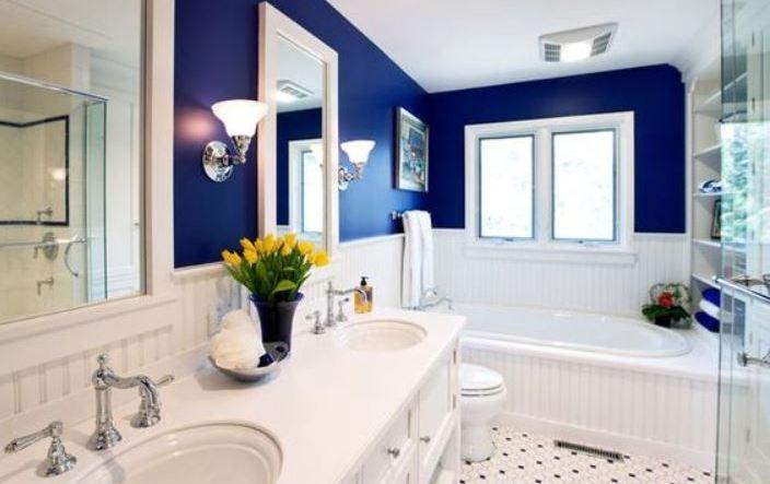 navy bathroom feature