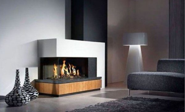 modern living room fireplace feature