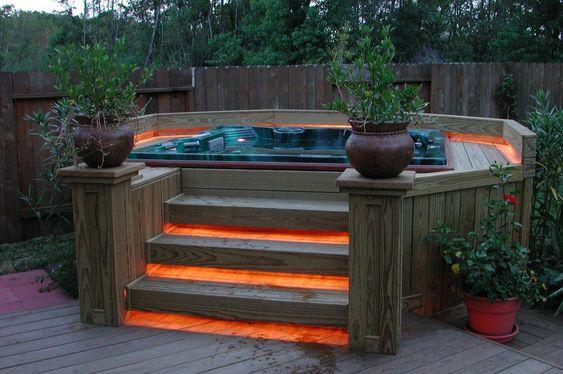 Backyard Hot Tub: Stunning Lighten Deck