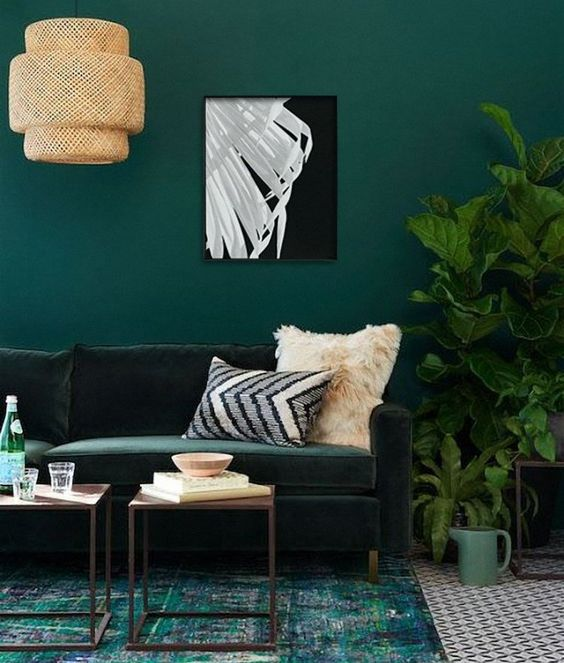 Living Room Colors Ideas: Glamourous Green Decor