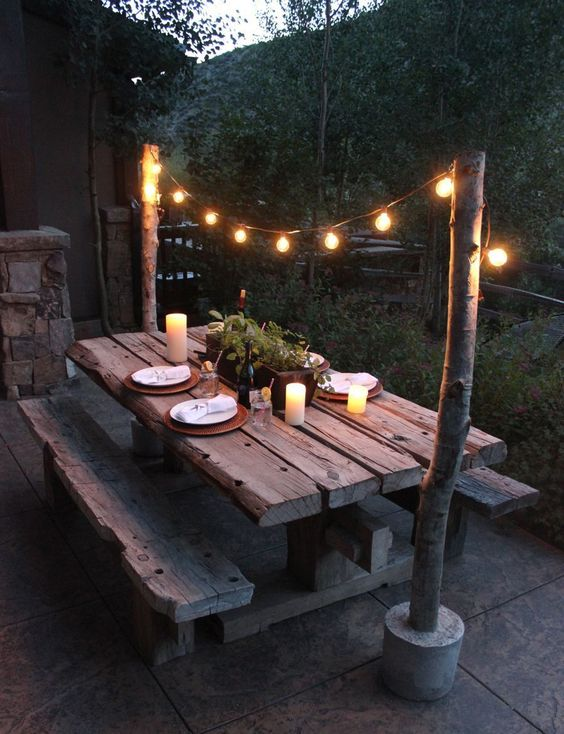 Rustic Backyard Ideas: Raw Natural Dining