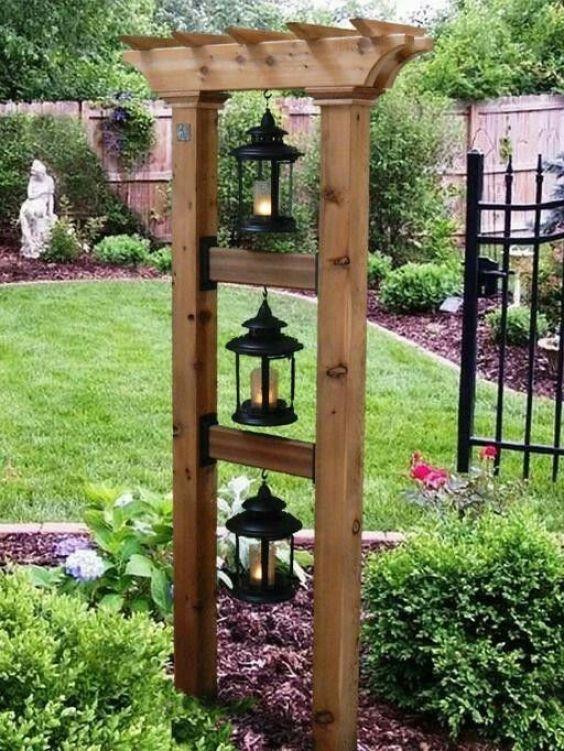 Rustic Backyard Ideas: Small Pergola Lighting