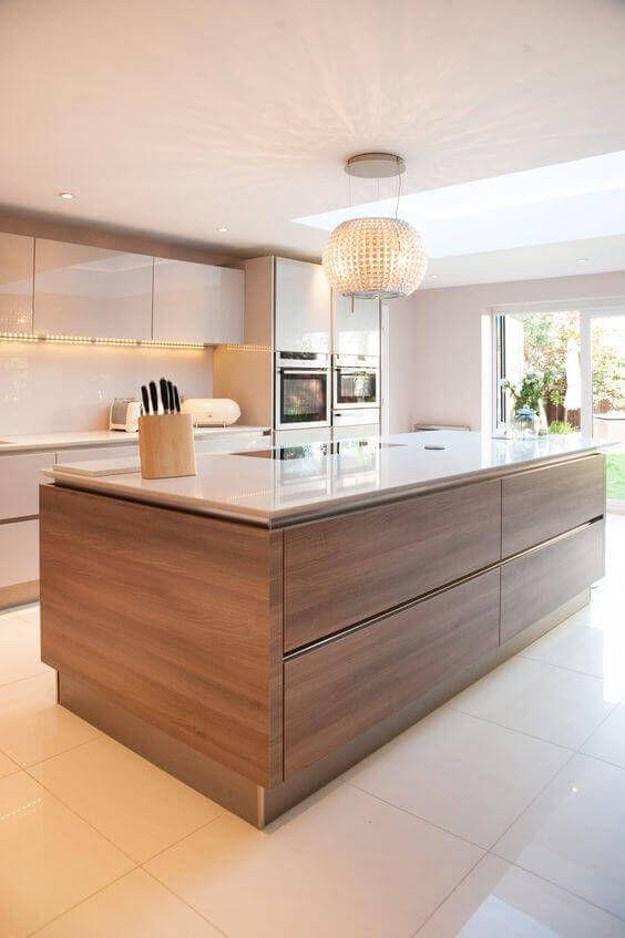 Kitchen with Islands Ideas: Sleek Wood Design
