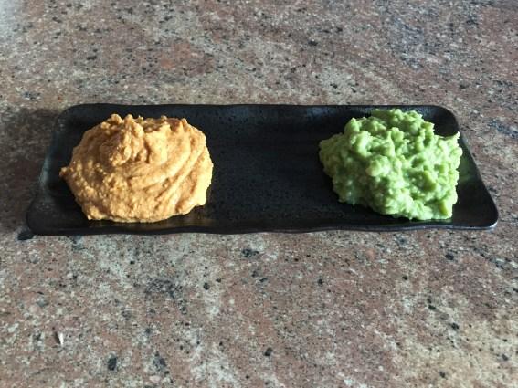 Plain Hummus accompanied by freshly made Guacamole