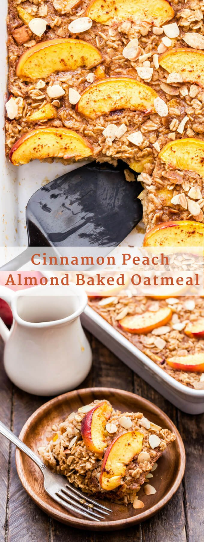 Cinnamon Peach Almond Baked Oatmeal is perfect for the weekends and great reheated for a quick and easy breakfast during the week! Loaded with sweet peaches, plenty of cinnamon and toasted almonds for crunch. A creamy, healthy and delicious alternative to traditional oatmeal! #oatmeal #bakedoatmeal #peach #breakfast #glutenfree #healthybreakfast