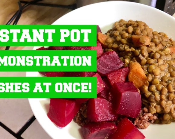 3 dishes at once in your Instant Pot - Herbed French Lentils with Beets and Pink Rice