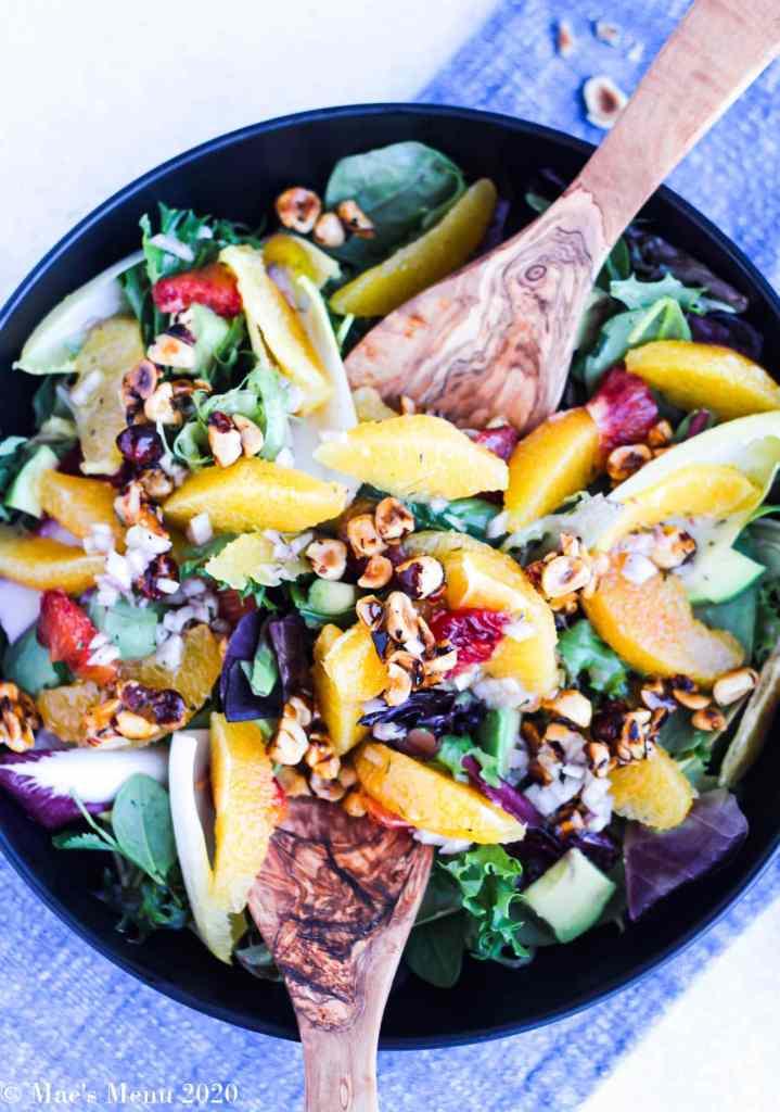 orange salad with honeyed hazelnuts recipe