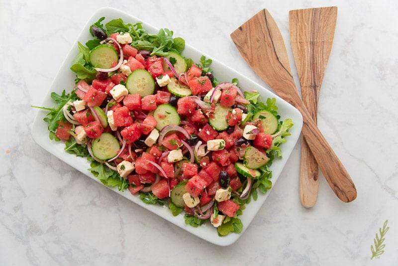 Greek Farmer's Salad with Watermelon Recipe