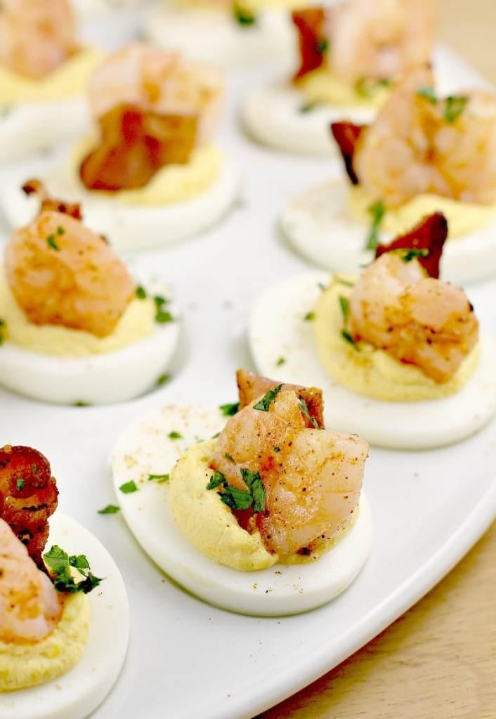 Creole Shrimp Deviled Eggs With Bacon recipe