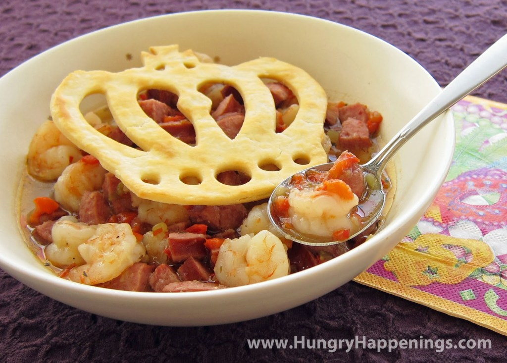 Mardi Gras Gumbo with Crowns and Masks recipe