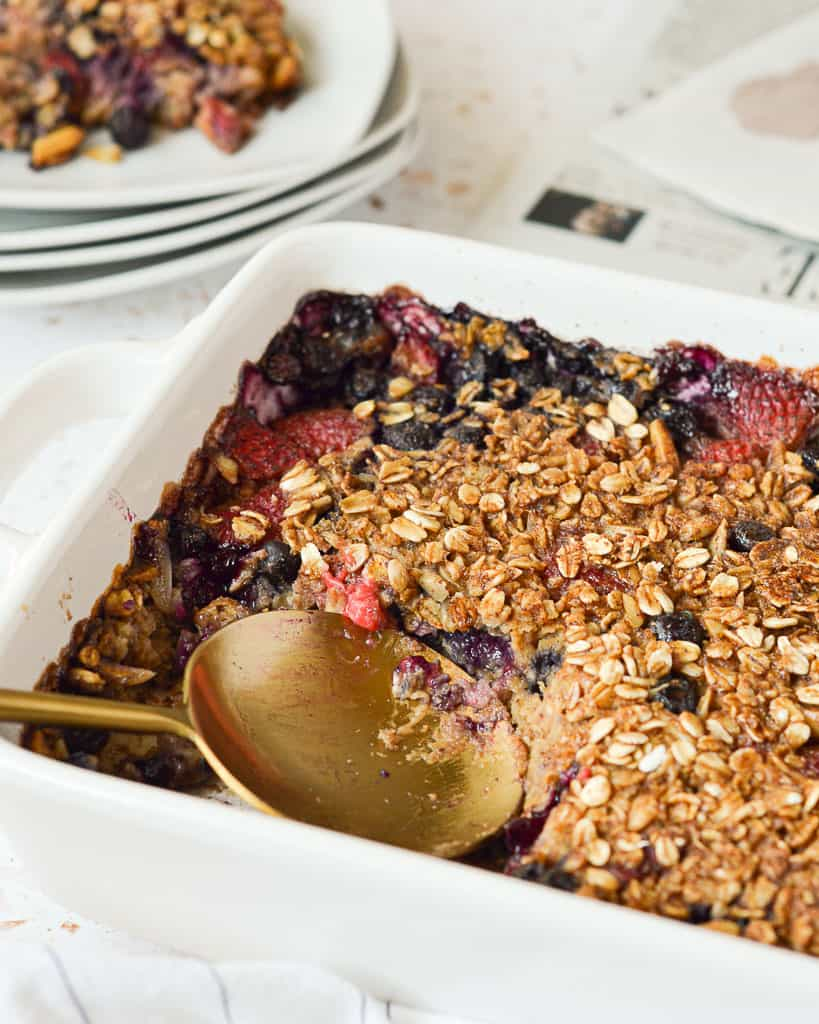 Red, White and Blueberry Oatmeal Bake recipe