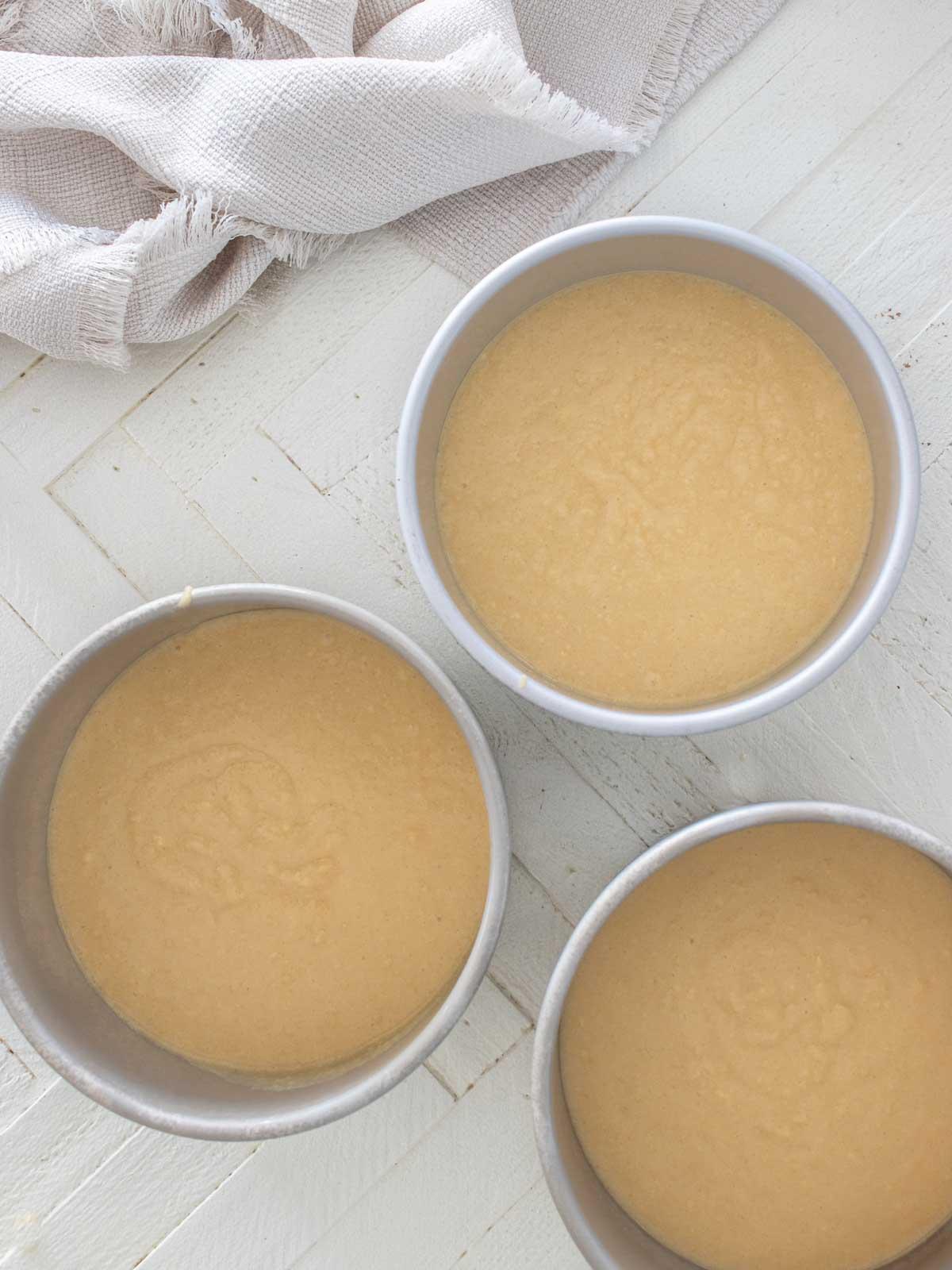 vanilla cake in cake pans