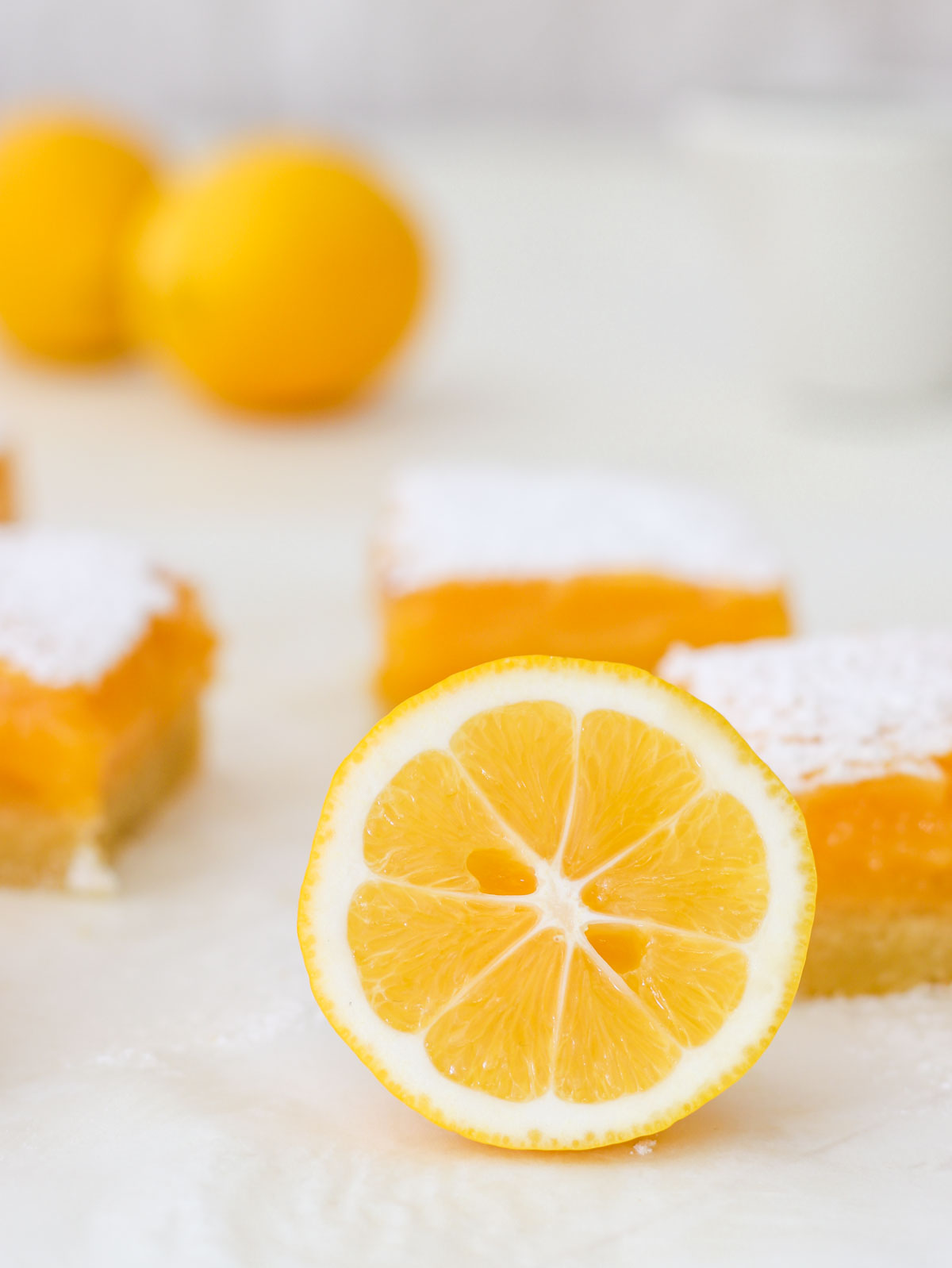 A lemon cut in half