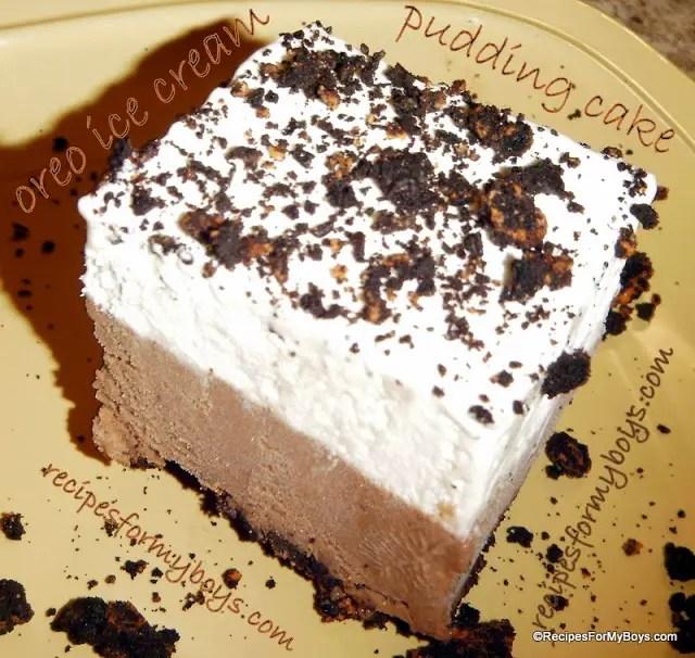 Frozen Oreo Ice Cream Pudding Cake