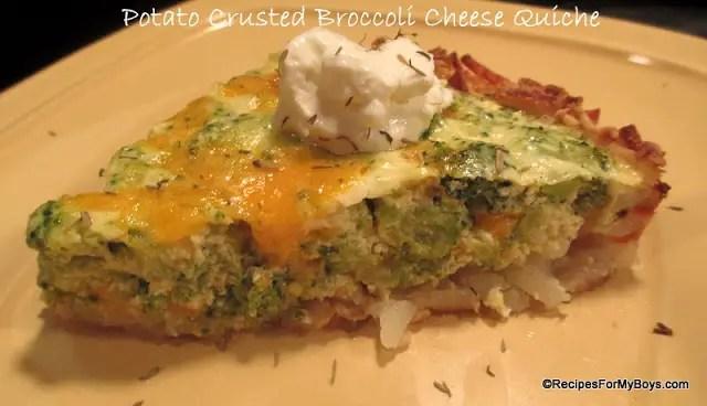 Potato Crusted Broccoli Cheese Quiche
