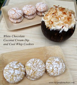 Snack recipes: White Chocolate Coconut Cream Dip and Cool Whip Cookies
