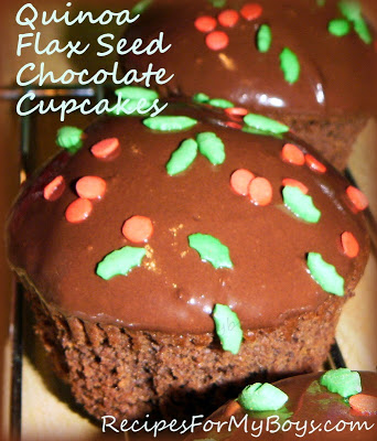 Quinoa and Flax Seed Chocolate Cupcakes with Chocolate Ganache