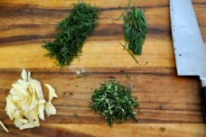 Fennel, chives, rosemary, and garlic