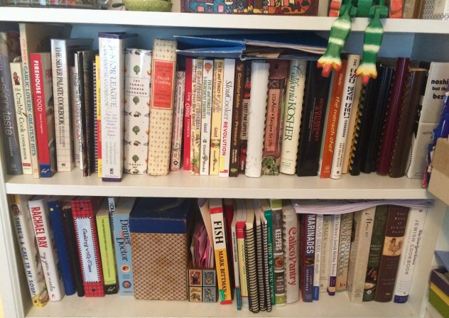 A small fraction of my cookbooks with some of my mother's cookbooks.