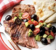 %name   Grilled Flank Steak With Avocado And Olive Salsa   RecipesNow.com