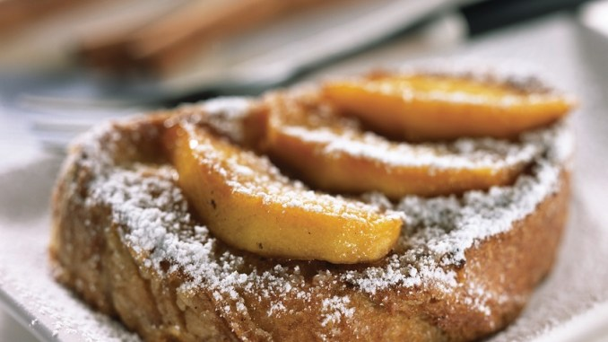 Cinnamon-Spiced Almond French Toast with Maple Apples