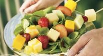 Salad with Triple Cheddar Fruit Kebobs
